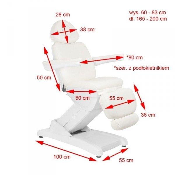 Fotel kosmetyczny elektr. Azzurro 871 4sil. - biały