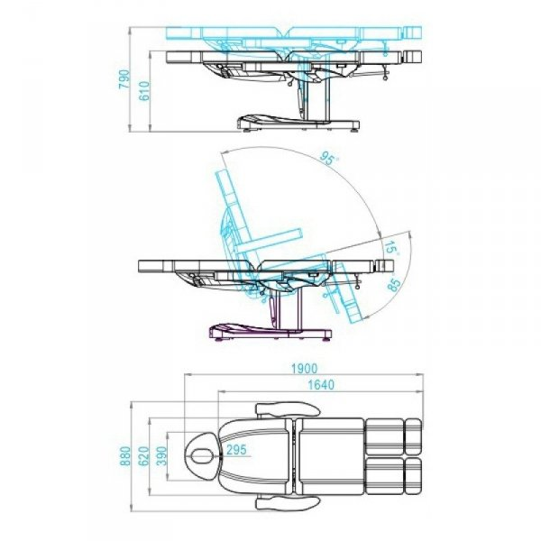 Fotel kosmetyczny elektr. Azzuro 803AS Pedi - biały