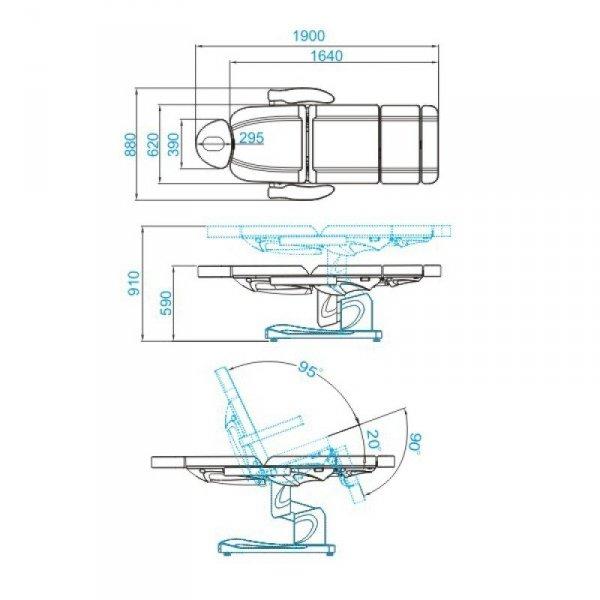 Fotel kosmetyczny elektr. Azzuro 708A - biały