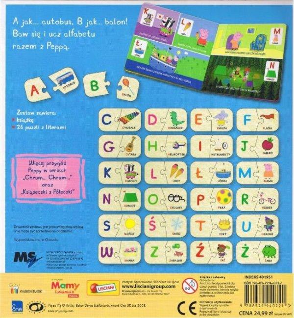 Świnka Peppa Uczę się alfabetu (26 puzzli z literami)