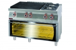 Kuchnia gazowa z płytą grzewczą z piekarnikiem elektrycznym moduł 3xGN 1/1  1200x700x900 mm KROMET 700.KG-2/I-800/PE-3 700.KG-2/I-800/PE-3