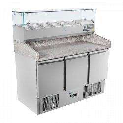 Stół chłodniczy do pizzy - 140 x 70 cm - granit - nadstawa chłodnicza ROYAL CATERING 10010454 RCKT-140/70-V