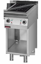 Kuchnia indukcyjna 450 mm 2x5,0 kW na podstawie szafkowej otwartej  KROMET 900.KE-2i/450.S LINIA 900