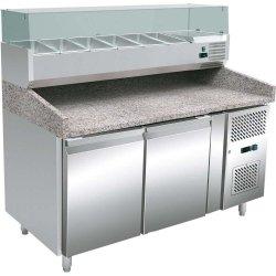 Stół chłodniczy do pizzy, 2 drzwiowy, 600X400, nadstawa chłodnicza, 428 l STALGAST 843300 843300