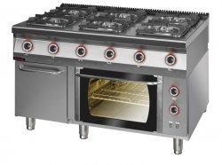 Kuchnia gazowa z piekarnikiem elektrycznym z termoobiegiem 1350x900x900 mm KROMET 900.KG-6/PE-1T/SD 900.KG-6/PE-1T/SD