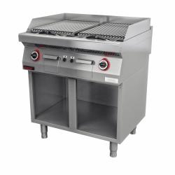 Lawa grill 800 mm 14kW na podstawie szafkowej otwartej  KROMET 700.OGL-800.S LINIA 700