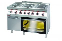 Kuchnia elektryczna z piekarnikiem elektrycznym  1200x700x900 mm KROMET 700.KE-6/PE-2/SD* 700.KE-6/PE-2/SD*