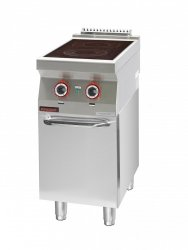 Kuchnia elektryczna ceramiczna 2 pola 1x2,1kW + 1x2,0kW na podstawie szafkowej zamkniętej  KROMET 700.KE-2C.S.D LINIA 700