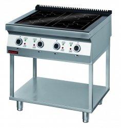 Kuchnia indukcyjna 900 mm 4x5,0kW na podstawie szkieletowej  KROMET 900.KE-4i/900.T LINIA 900