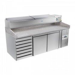 Stół chłodniczy do pizzy - 202 x 80 cm - granit - nadstawa chłodnicza ROYAL CATERING 10010456 RCKT-202/80-VG