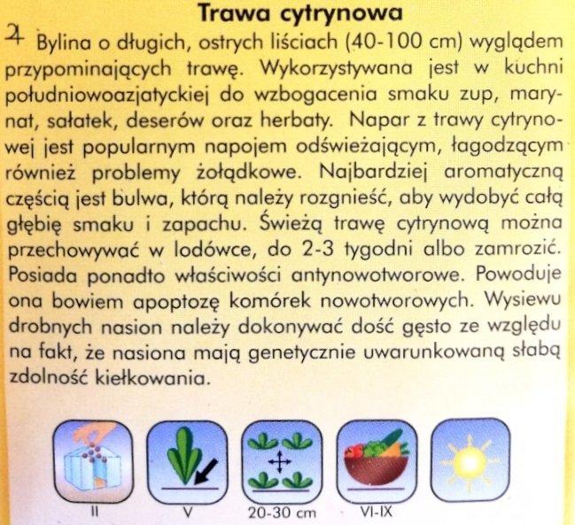 Trawa cytrynowa nasiona PLantico