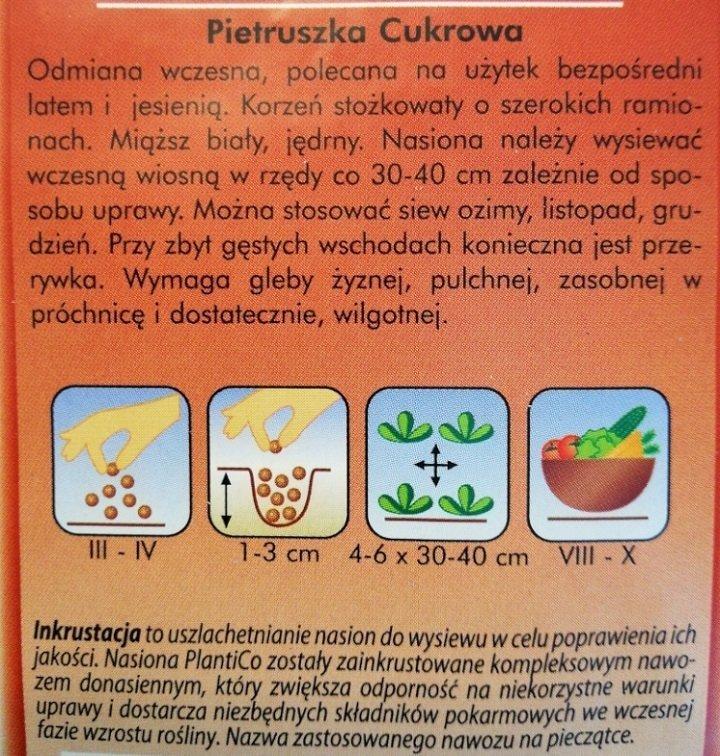 Pietruszka cukrowa Plantoco opakowanie