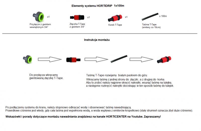 System nawadniania kropelkowego HORTIDRIP 1x100m