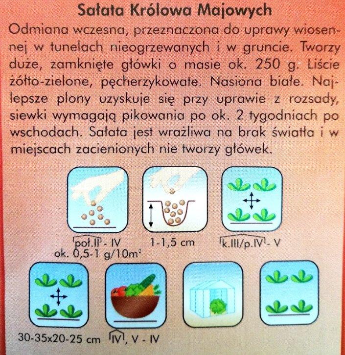 Sałata Królowa Majowych - etykieta