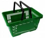 Koszyk na zakupy 22 L. Zielony 43 cm x 30 cm x 23 cm z 2 rączkami