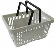 Koszyk na zakupy 22 L. Szary 43 cm x 30 cm x 23 cm z 2 rączkami