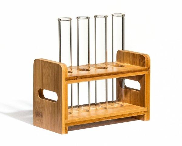 Imprezowe probówki 4 szt. z drewnianym stojakiem