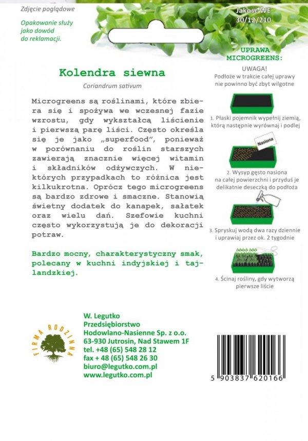 Microgreens Kolendra siewna uprawa