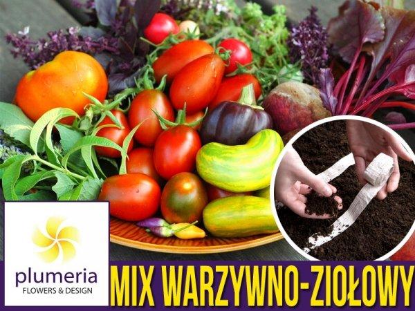 Ogródek warzywno-ziołowy, zestaw nasion NA TAŚMIE 9x1,5 m - p70