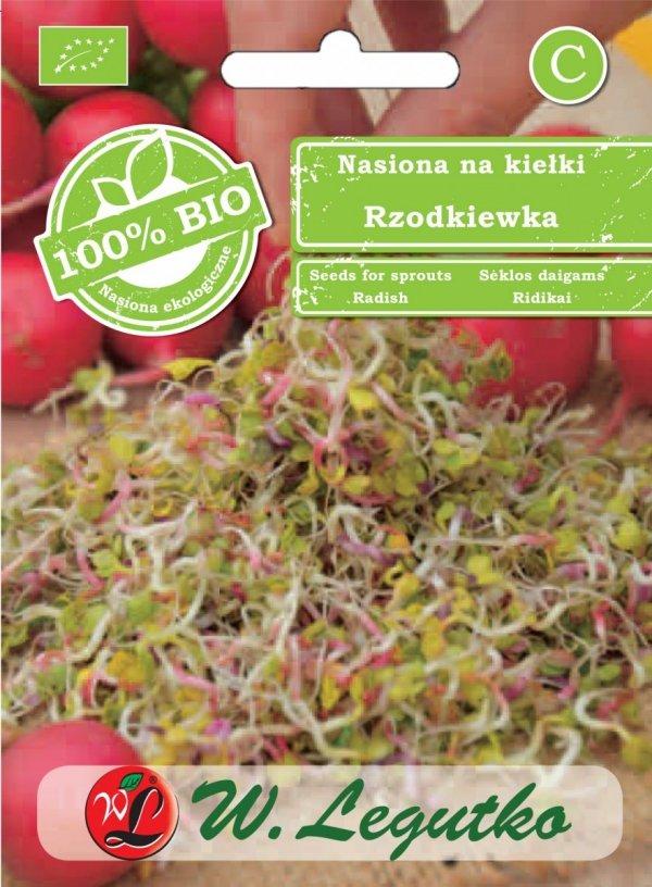 Ekologiczne bio nasiona rzodkiewka kiełki