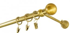 Karnisz metalowy fi 19 pojedynczy SZLIF MOSIĄDZ, zakończenie KULKA długość od 120 cm do 480 cm z zapinkami