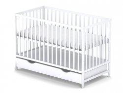 łóżeczko KLASYCZNE kolor biały 120/60 cm + szuflada