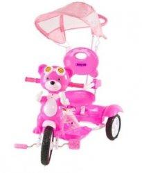 Rowerek trójkołowy Miś w goglach różowy  BABY MIX