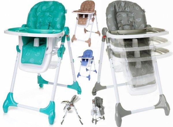 krzesełko do karmienia DECCO + tacki, kosz -składane 4 BABY