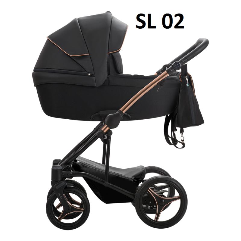 wózek wielofunkcyjny TORINO SL  ZŁOTY lub MIEDZIANY STELAŻ  ( gondola+ spacerówka + fotelik MARS ) Bebetto