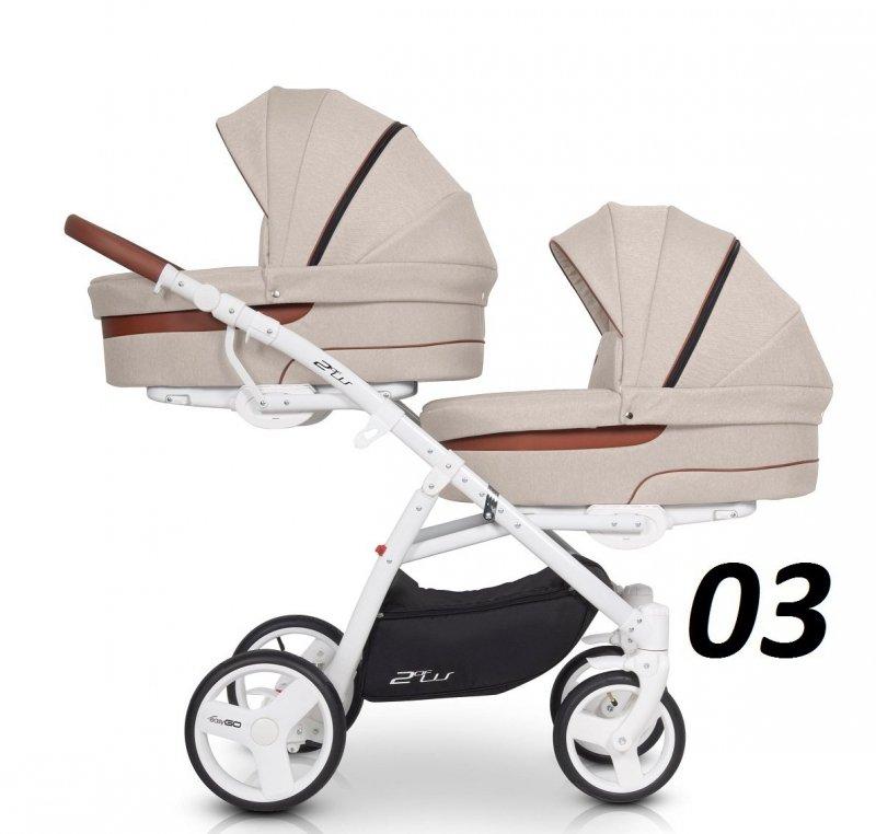 wózek bliżniaczy 2 OF US 3w1 ( 2 gondole + 2 spacerówki + 2 foteliki) Easygo