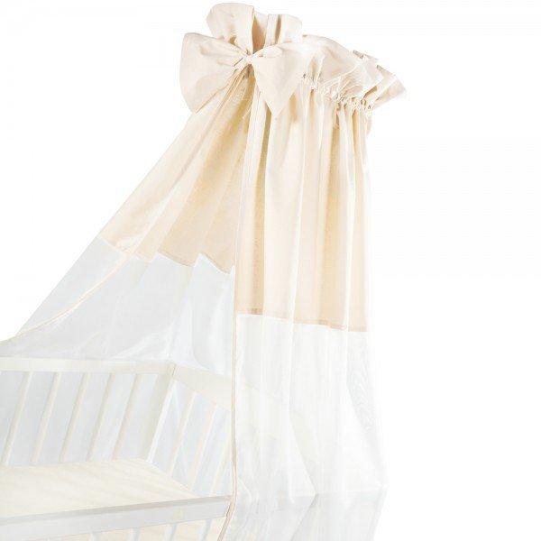 moskitiera na łóżeczko / baldachim UNIWERSALNY Z KOKARDKĄ woal + bawełna BEŻ Klupś