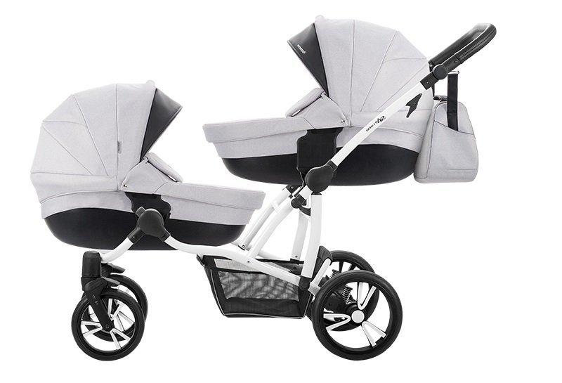 BEBETTO42  wózek wielofunkcyjny bliżniaczy (2 gondole+ 2 spacerówki + 2 foteliki) +EXTRA DODATKI zestaw xxxl