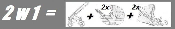BEBETTO42  wózek wielofunkcyjny (2 gondole+ 2 spacerówki) +EXTRA DODATKI zestaw xxxl