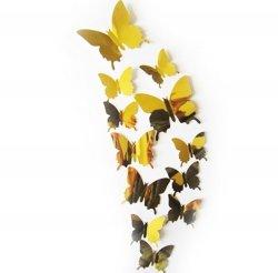 Motyle 3D na sciane 12sztuk z magnesem złote