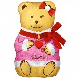 Lindt Czekoladowy Miś Teddy Różowy Kożuszek Kokardka 100g