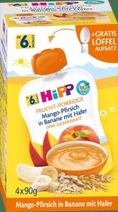 Hipp Bio Mus Mango Brzoskwinie Banan Owies + Łyżeczka 4x90g 4m