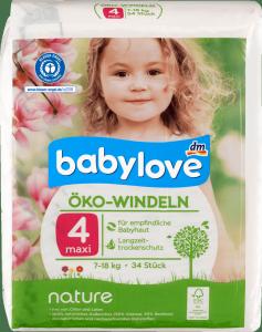Babylove Pieluszki 4 Ekologiczne Naturalne 7-18kg 34 szt