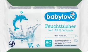 Babylove Chusteczki nawilżane 99% wody dla Noworodków 80szt