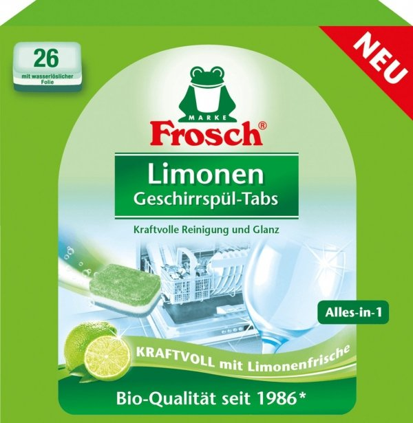 m-din Frosch Naturalne Tabletki do Zmywarki Limonka DE