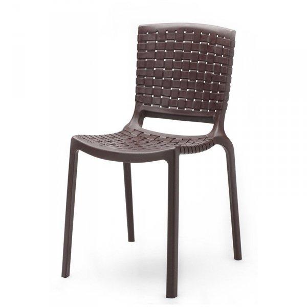 Lekkie krzesło z tworzywa, które można sztaplować Tatami 305 Brązowe