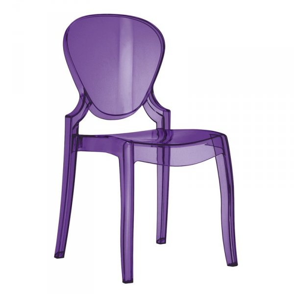 Fioletowe krzesło transparentne do jadalni Queen 650 Pedrali