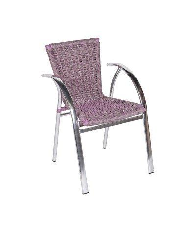 Fotel Bahamas bicolore z technorattanu fioletowo-szary