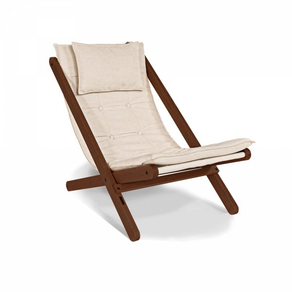 Allegro leżak orzech/olej lniany z poduszką w kolorze kremowym Woodman