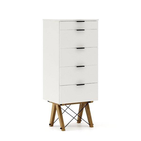 Wysoka komoda Tallboy Minko z szufladami w kolorze białym