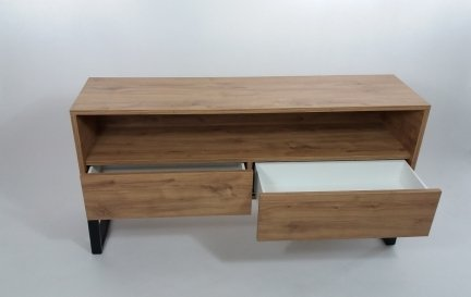 Konsola RTV z drewna naturalnego i metalu