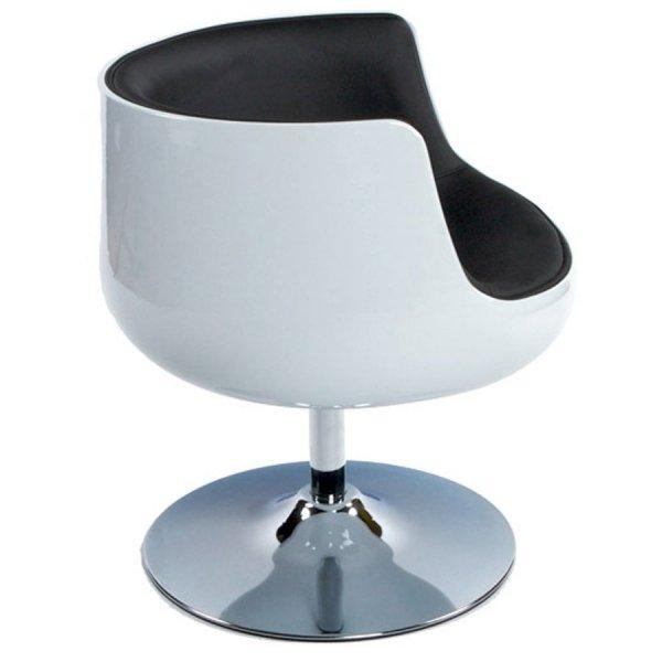 Fotel kubełkowy Harlow Biało-Czarny