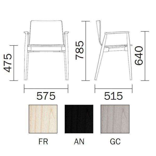 Krzesło w stylu skandynawskim Malmo 396 wymiary