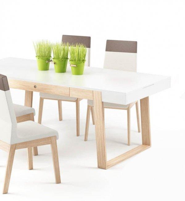 Biały stół rozkładany do nowoczesnej jadalni