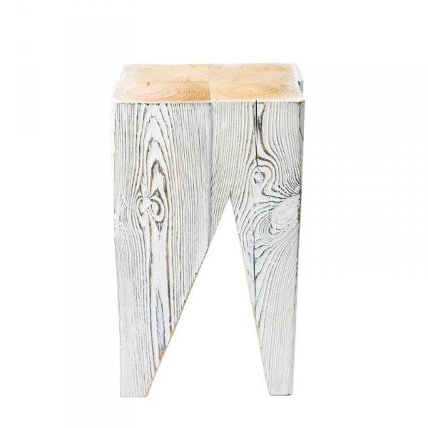 Drewniany stołek bielony Gie El