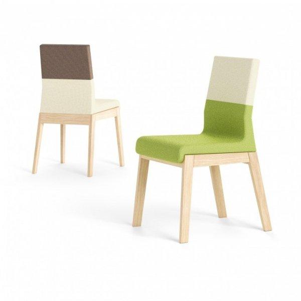 Pomimo swojej solidnej, drewnianej konstrukcji krzesło sprawia wrażenie lekkiego i nowoczesnego.